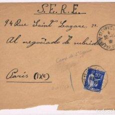 Sellos: GUERRA CIVIL FRONTAL CAMPO REFUGIADOS SAINT ST CYPRIEN A SERE (SERVICIO EVACUACION REFUGIADOS) 1939. Lote 152881482