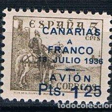 Sellos: GUERRA CIVIL. SELLO LOCAL CANARIAS A FRANCO 18 JULIO 1936 AVION PTS 1,25 ** LOT006 . Lote 154147250