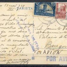 Sellos: GUERRA CIVIL, TARJETA POSTAL, PALMA DE MALLORCA A BURGOS, 1938. Lote 154204418