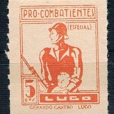 Sellos: GUERRA CIVIL. SELLO LOCAL PRO COMBATIENTES LUGO 5 CTS GERARDO CASTRO ** LOT006 . Lote 155592288