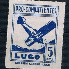 Sellos: GUERRA CIVIL. SELLO LOCAL PRO COMBATIENTES LUGO 5 CTS GERARDO CASTRO ** LOT006. Lote 155592302