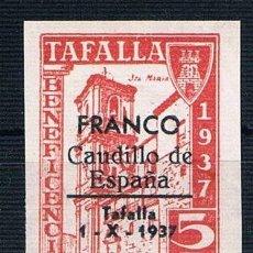 Sellos: GUERRA CIVIL. SELLO LOCAL TAFALLA BENEFICENCIA 1937 FRANCO CAUDILLO DE ESPAÑA 5 CTS ** LOT006. Lote 155592401