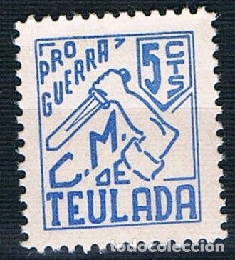 Sellos: Guerra Civil Sello Local Teulada Pro Guerra 5 Cts ** LOT006 - Foto 1 - 154402590