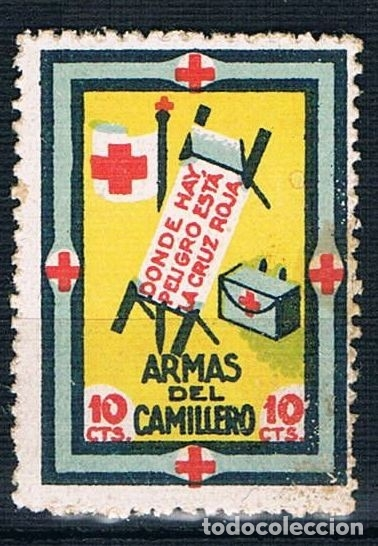 GUERRA CIVIL VIÑETA CRUZ ROJA ARMAS DEL CAMILLERO. 10 CTS. * LOT006 (Sellos - España - Guerra Civil - Viñetas - Nuevos)