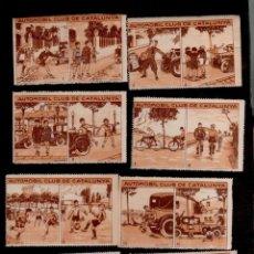 Sellos: 0609 REAL AUTOMOVIL CLUB DE CATALUNYA CONJUNTO DE 8 CROMOS DOBLES (2 CON DOBLES HORIZONTAL). Lote 154412914