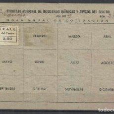 Sellos: W104-VIÑETA GUERRA CIVIL 1939 HOJA COTIZACION CARNET CNT FAI -C.N.T. Y F.A.I 3,50 PESETAS INDUSTRIA. Lote 154683390