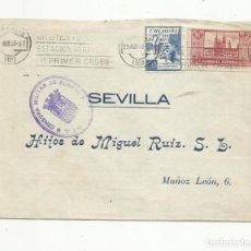 Sellos: CIRCULADA 1937 FABRICA ALPARGATAS DE BURGOS A SEVILLA CON CENSURA MILITAR Y VIÑETA CONTRA EL FRIO. Lote 154990266