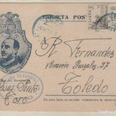 Sellos: POSTAL PATRIOTICA FRANCO. CALZADOS LA FAVORITA. TOLEDO. 1941 . Lote 155066330