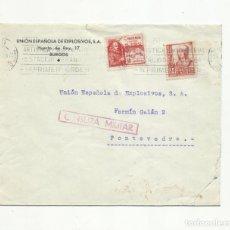 Sellos: CIRCULADA 1937 UNION ESPAÑOLA EXPLOSIVOS BURGOS CIUDAD ARTISTICA A PONTEVEDRA CON CENSURA MILITAR . Lote 155078982