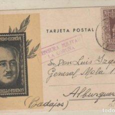 Sellos: TARJETA POSTAL PATIOTICA, CON CENSURA MILIAR LA CORUÑA. 12/10/1937 GUERRA CIVIL . Lote 155103262