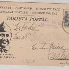 Sellos: TARJETA POSTAL PATRIOTICA SALUDO A FRANCO. CENSURA MILITAR DE LA CORUÑA. 5/3/1938. Lote 155109126