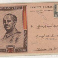 Sellos: TARJETA POSTAL PATRIOTICA CAUDILLO ESPAÑOL FRANCO. CENSURA MILITAR DE JACA. 6/11/1937 GUERRA CIVIL.. Lote 155109298