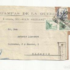Sellos: CIRCULADA 1938 ESTAMPAS DE GUERRA DE SAN SEBASTIAN A VITORIA CON CENSURA MILITAR. Lote 155350874