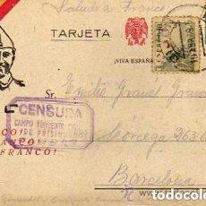 Sellos: CENSURA MILIAR CAMPO DE CONCENTRACIÓN CANDAS. ASTURIAS. 18 ABRIL 1939 FRANCO.. Lote 155375082