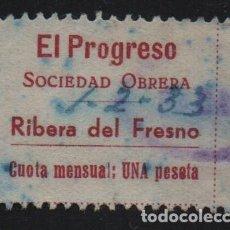 Sellos: RIBERA DEL FRESNO, EL PROGRESO, SOCIEDAD OBRERA, VER FOTO. Lote 155505346