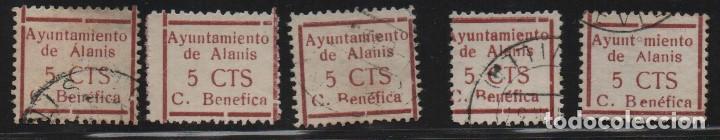 ALANIS. -SEVILLA- 5 CTS. 5 SELLO CON VARIEDADES.-CUOTA BENEFICA- VER FOTO (Sellos - España - Guerra Civil - De 1.936 a 1.939 - Usados)