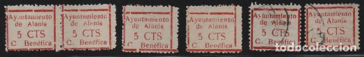 ALANIS. -SEVILLA- 5 CTS. 6 SELLO CON VARIEDADES.-CUOTA BENEFICA- VER FOTO (Sellos - España - Guerra Civil - De 1.936 a 1.939 - Usados)
