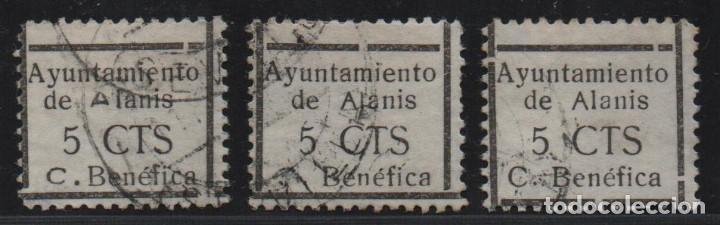 ALANIS. -SEVILLA- 5 CTS. 3 SELLO CON VARIEDADES.-CUOTA BENEFICA- VER FOTO (Sellos - España - Guerra Civil - De 1.936 a 1.939 - Usados)