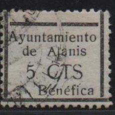 Sellos: ALANIS. -SEVILLA- 5 CTS. 3 SELLO CON VARIEDADES.-CUOTA BENEFICA- VER FOTO. Lote 155507290