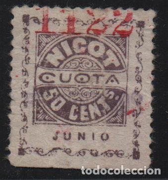 CADIZ. 50 CTS.-NICOT- FEDERACION TABAQUERA ESPAÑA, ALLEPUZ Nº 229, VER FOTOS (Sellos - España - Guerra Civil - De 1.936 a 1.939 - Usados)