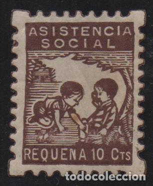 REQUENA, 10 CTS,. --ASISTENCIA SOCIAL-- VER FOTO (Sellos - España - Guerra Civil - De 1.936 a 1.939 - Nuevos)