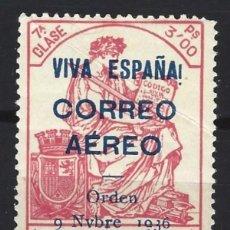 Sellos: ESPAÑA 1936 - POLIZA CORREO AEREO SOBREIMPRESO EN AZUL - NUEVA **. Lote 155648414