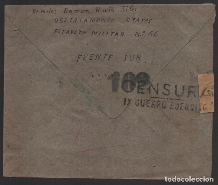 CARTA DEL FRENTE SUR A PEGADAJAR-JAEN, -C.M., IX CUERPO EJERCITO, CENSOR 102, VER FOTOS (Sellos - España - Guerra Civil - De 1.936 a 1.939 - Usados)