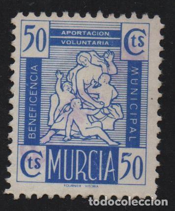 MURCIA, 50 CTS.-BENEFICENCIA MUNICIPAL- VER FOTO (Sellos - España - Guerra Civil - De 1.936 a 1.939 - Usados)
