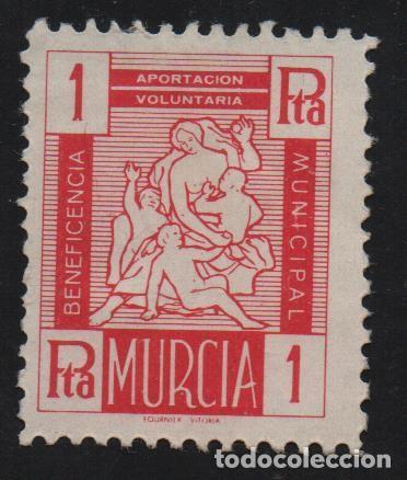 MURCIA, 1 PTA.-BENEFICENCIA MUNICIPAL- VER FOTO (Sellos - España - Guerra Civil - De 1.936 a 1.939 - Usados)