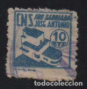 MALAGA, 10 CTS, AZUL CLARO, -PRO BARRIADA JOSE ANTONIO- ALLEPUZ Nº 39, VER FOTO (Sellos - España - Guerra Civil - De 1.936 a 1.939 - Usados)