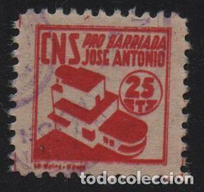 MALAGA, 25 CTS, ROJO CLARO, -PRO BARRIADA JOSE ANTONIO- ALLEPUZ Nº 40, VER FOTO (Sellos - España - Guerra Civil - De 1.936 a 1.939 - Usados)