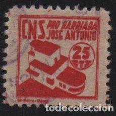 Sellos: MALAGA, 25 CTS, ROJO CLARO, -PRO BARRIADA JOSE ANTONIO- ALLEPUZ Nº 40, VER FOTO. Lote 155762758