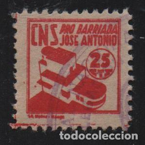 MALAGA, 25 CTS, ROJO, -PRO BARRIADA JOSE ANTONIO- ALLEPUZ Nº 40, VER FOTO (Sellos - España - Guerra Civil - De 1.936 a 1.939 - Usados)