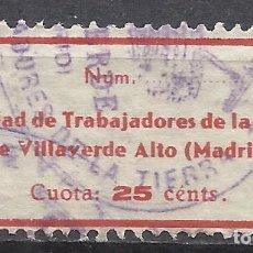 Sellos: Q505Y-VIÑETA U.G.T. F.N.T.T.,SELLO GUERRA CIVIL MADRID 1936 SOCIEDAD TRABAJADORES DE LA TIERRA VILLA. Lote 155766214