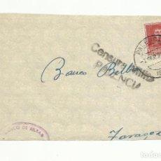 Sellos: FRONTAL CIRCULADA 1938 BANCO BILBAO PALENCIA A ZARAGOZA CON CENSURA MILITAR . Lote 155779842
