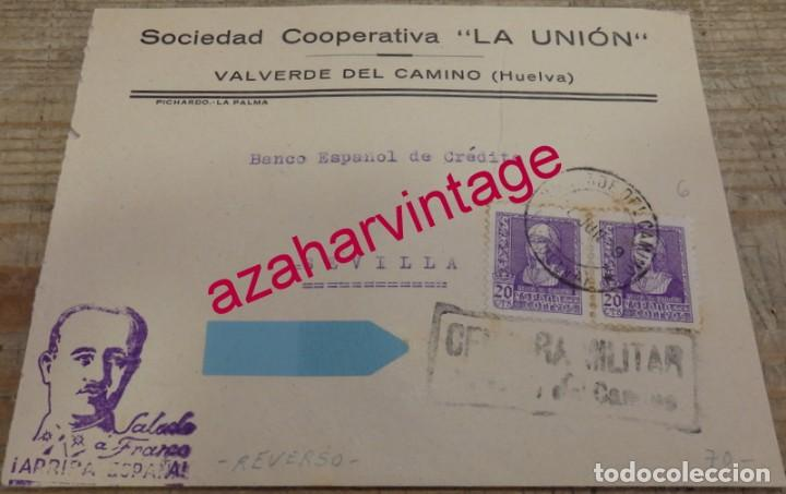 1939, SOBRE CIRCULADO CON CENSURA DE VALVERDE DEL CAMINO, REVERSO PATRIOTICO FALANGE, RARA (Sellos - España - Guerra Civil - De 1.936 a 1.939 - Cartas)