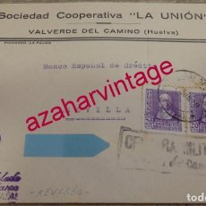 Sellos: 1939, SOBRE CIRCULADO CON CENSURA DE VALVERDE DEL CAMINO, REVERSO PATRIOTICO FALANGE, RARA. Lote 155783118