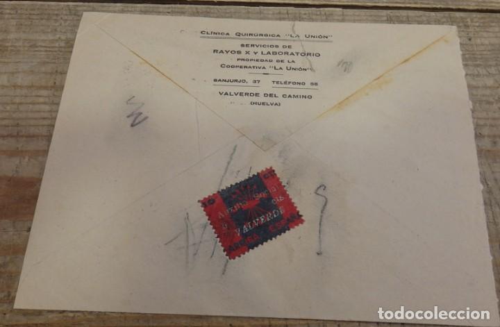 Sellos: 1939, SOBRE CIRCULADO CON CENSURA DE VALVERDE DEL CAMINO, REVERSO PATRIOTICO FALANGE, RARA - Foto 2 - 155783118