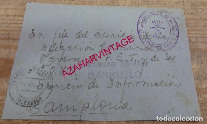 1937, FRONTAL CIRCULADO CON CENSURA MILITAR DE BARRUELOS, MARCA BANDERA DEL FRENTE DE NAVARRA (Sellos - España - Guerra Civil - De 1.936 a 1.939 - Cartas)