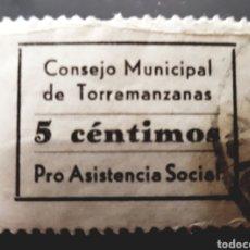 Sellos: GUERRA CIVIL VIÑETA PRO ASISTENCIA SOCIAL CONSEJO MUNICIPAL DE TORREMANZANAS. Lote 155819604