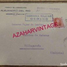 Sellos: OSORNO, PALENCIA, 1938, FRONTAL CIRCULADO, CENSURA MILITAR,FABRICA DE CHOCOLATES ALEJANDRO DEL RIO. Lote 155926334