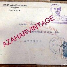 Sellos: 1939, CARTA DE TAFALLA A OVIEDO, CENSURA MILITAR , SELLO LOCAL DE TAFALLA. Lote 155927222