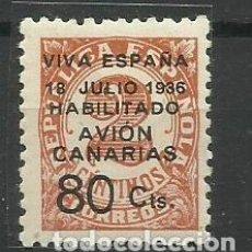 Sellos: CANARIAS 1936 HABILITADO AVION C/ FIJASELLO (CERTIFICADO). Lote 155931570