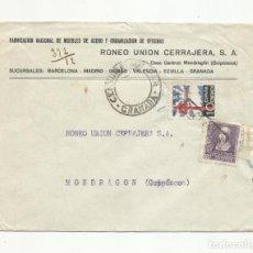 Sellos: CIRCULADA DE GRANADA ANDALUCIA A MONDRAGON GUIPUZCOA CON CENSURA MILITAR Y RECLAMADO. Lote 155957010
