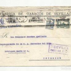 Sellos: CIRCULADA 1937 FABRICA DE TABACO DE SEVILLA A INTERIOR CON CENSURA MILITAR Y SELLO LOCAL. Lote 155957390