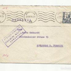 Sellos: CIRCULADA 1938 DE 5 CUERPO EJERCITO ZARAGOZA A CHEMNITZ ALEMANIA CON CENSURA MILITAR . Lote 155957694
