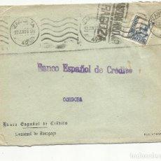 Sellos: CIRCULADA 1939 DE BANESTO ZARAGOZA A BANESTO CORDOBA CON CENSURA MILITAR Y SELLO FRENTE HOSPITALES. Lote 155957962