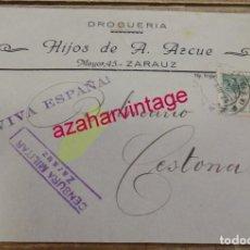Sellos: ZARAUZ,1938, SOBRE CIRCULADO , CENSURA MILITAR, DROGUERIA HIJOS DE A. AZCUE. Lote 155962238