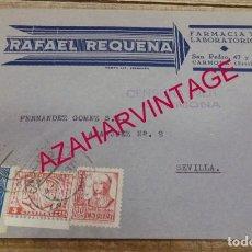 Sellos: CARMONA, 1937, SOBRE CIRCULADO FARMACIA RAFAEL REQUENA, CENSURA MILITAR. Lote 155963054