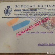 Sellos: LA PALMA DEL CONDADO,1937, SOBRE CIRCULADO BODEGAS PICHARDO, CENSURA MILITAR, MUY RARO. Lote 155963618